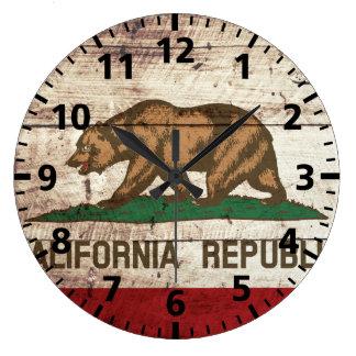 Bandera del estado de California en grano de Reloj Redondo Grande