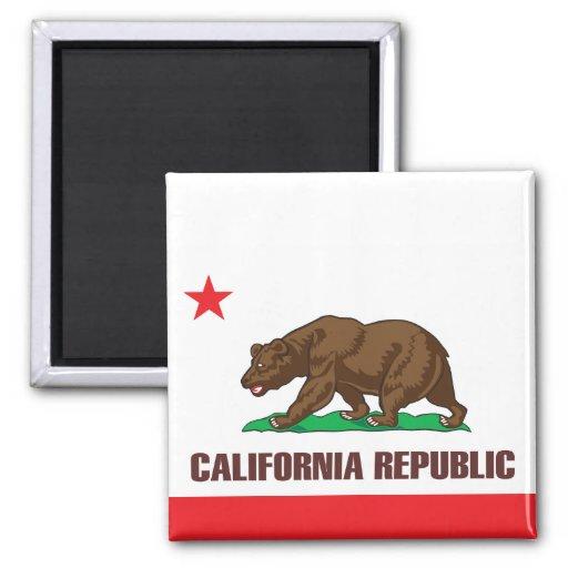 Bandera del estado de California Imán Cuadrado