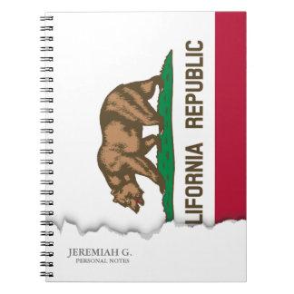 Bandera del estado de California Libro De Apuntes Con Espiral