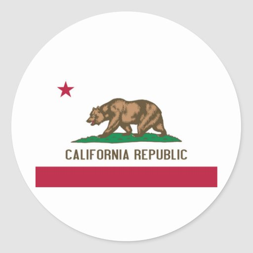 Bandera del estado de California Pegatina Redonda