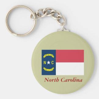 Bandera del estado de Carolina del Norte Llavero Redondo Tipo Pin