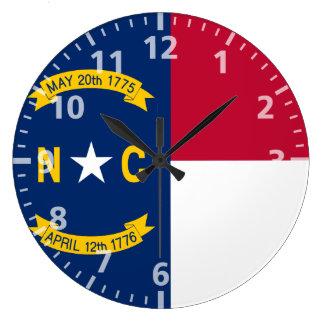 Bandera del estado de Carolina del Norte Reloj Redondo Grande