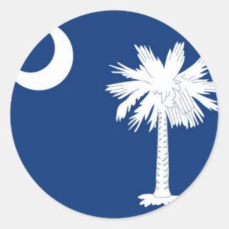 Bandera del estado de Carolina del Sur Etiquetas Redondas