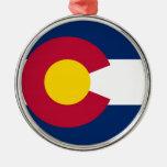 Bandera del estado de Colorado Adorno Redondo Plateado
