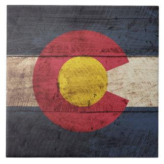 Bandera del estado de Colorado en grano de madera Azulejo Cuadrado Grande