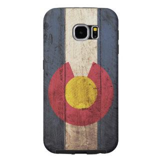 Bandera del estado de Colorado en grano de madera Fundas Samsung Galaxy S6