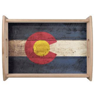 Bandera del estado de Colorado en grano de madera Bandeja