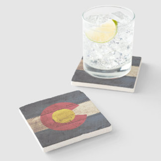 Bandera del estado de Colorado en grano de madera Posavasos De Piedra