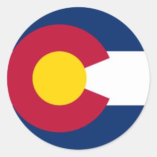 Bandera del estado de Colorado Etiqueta Redonda