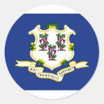 Bandera del estado de Connecticut Etiqueta Redonda