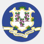 Bandera del estado de Connecticut Pegatinas Redondas