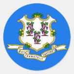 Bandera del estado de Connecticut Etiquetas Redondas