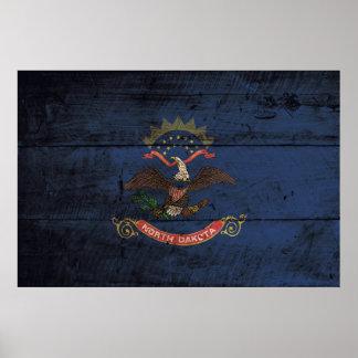 Bandera del estado de Dakota del Norte en grano de Póster