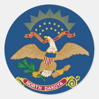 Bandera del estado de Dakota del Norte Pegatina Redonda