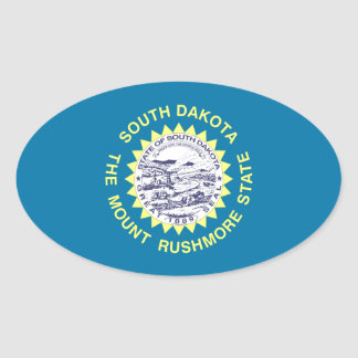 Bandera del estado de Dakota del Sur Pegatina Ovalada