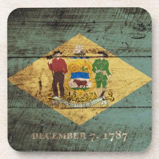 Bandera del estado de Delaware en grano de madera Posavasos