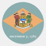 Bandera del estado de Delaware Pegatina Redonda