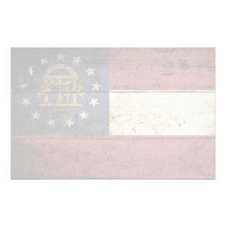 Bandera del estado de Georgia en grano de madera Papeleria Personalizada