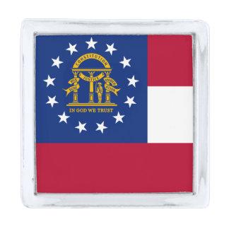 Bandera del estado de Georgia Insignia Plateada