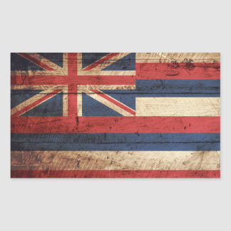 Bandera del estado de Hawaii en grano de madera Pegatina Rectangular