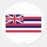 Bandera del estado de Hawaii Etiqueta Redonda