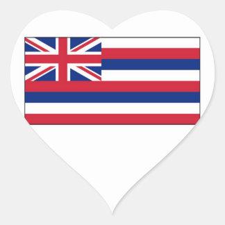 Bandera del estado de Hawaii Pegatina En Forma De Corazón