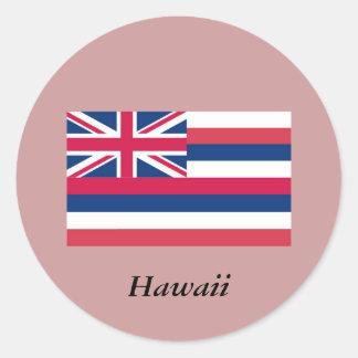 Bandera del estado de Hawaii Pegatina Redonda