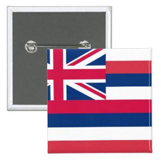 Bandera del estado de Hawaii Pin Cuadrado