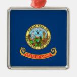 Bandera del estado de Idaho Adorno Cuadrado Plateado