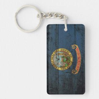 Bandera del estado de Idaho en grano de madera Llavero Rectangular Acrílico A Doble Cara