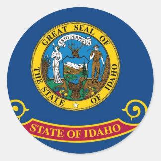 Bandera del estado de Idaho Pegatina Redonda