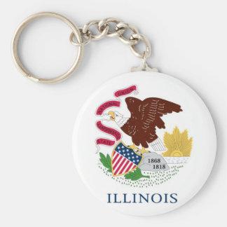 Bandera del estado de Illinois Llavero Redondo Tipo Pin
