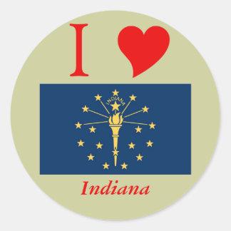 Bandera del estado de Indiana Etiquetas Redondas
