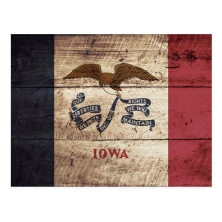 Bandera del estado de Iowa en grano de madera Postal