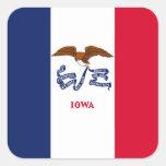 Bandera del estado de Iowa Pegatina Cuadrada