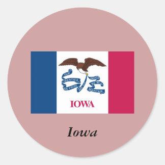 Bandera del estado de Iowa Pegatina Redonda