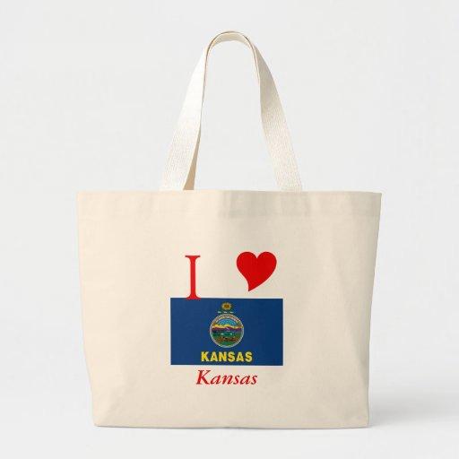Bandera del estado de Kansas Bolsa Tela Grande