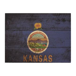 Bandera del estado de Kansas en grano de madera Impresión En Madera