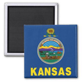 Bandera del estado de Kansas Imán Cuadrado