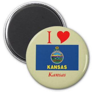 Bandera del estado de Kansas Imán Redondo 5 Cm