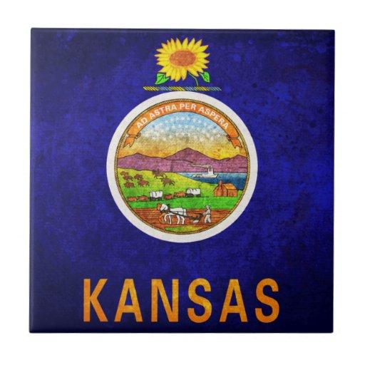 Bandera del estado de Kansas Teja Cerámica