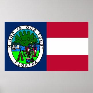 Bandera del estado de la Florida confederado 1861 Póster