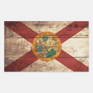 Bandera del estado de la Florida en grano de Pegatina Rectangular