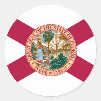 Bandera del estado de la Florida Pegatina Redonda