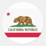 Bandera del estado de la república de California Pegatinas Redondas