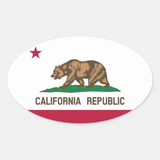Bandera del estado de la república de California, Pegatina Ovalada