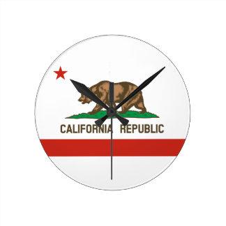 Bandera del estado de la república de California Reloj De Pared
