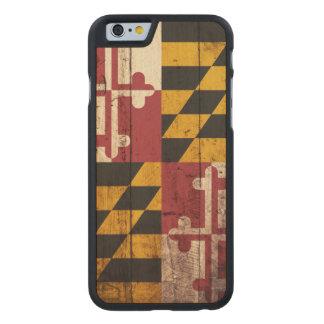 Bandera del estado de Maryland en grano de madera Funda De iPhone 6 Carved® Slim De Arce