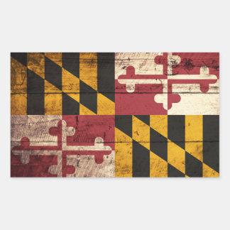 Bandera del estado de Maryland en grano de madera Rectangular Pegatinas