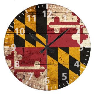 Bandera del estado de Maryland en grano de madera Reloj Redondo Grande